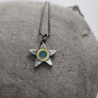 Turquoise and gold star necklace  by Zsuzsi Morrison
