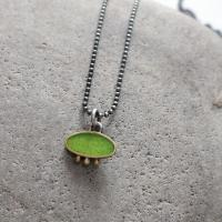 Lime and gold necklace  by Zsuzsi Morrison