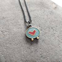 Turquoise and red heart necklace  by Zsuzsi Morrison