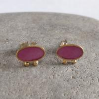 Pink and gold pair of earrings  by Zsuzsi Morrison