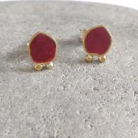 Red and gold pair of earrings  by Zsuzsi Morrison