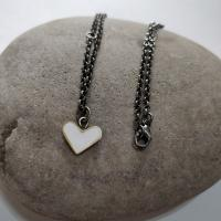 White heart necklace with an Adjustable Chain  by Zsuzsi Morrison