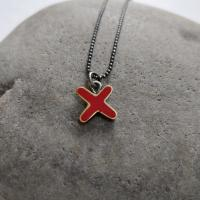 Red cross/kiss necklace by Zsuzsi Morrison