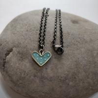 Silver Grey Heart necklace by Zsuzsi Morrison