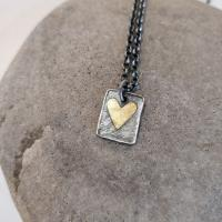 Double heart Tag necklace  by Zsuzsi Morrison