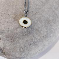 Necklace - White Flux and black oval.  by Zsuzsi Morrison