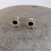 Earrings - White Flux and black oval with gold balls   by Zsuzsi Morrison