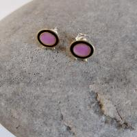 Earrings - Pink and black oval with gold balls   by Zsuzsi Morrison