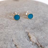 Earrings - Mint circle studs   by Zsuzsi Morrison