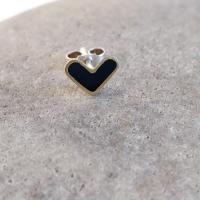 Earring stud - Black Heart  by Zsuzsi Morrison