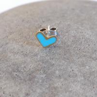 Earring stud - Turquoise Heart  by Zsuzsi Morrison