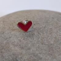 Earring stud - Red Heart  by Zsuzsi Morrison