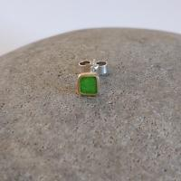 Earring stud - Lime square by Zsuzsi Morrison