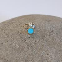 Earring stud - Turquoise Circle  by Zsuzsi Morrison