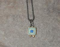 Blue square necklace by Zsuzsi Morrison