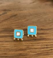 Earrings - Turquoise, white squares with gold balls  by Zsuzsi Morrison