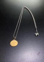 Gold Oval Pendent With Silver Chain  by Zsuzsi Morrison