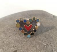 Multicoloured Heart Ring by Zsuzsi Morrison