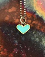 Turquoise heart with ball chain necklace  by Zsuzsi Morrison